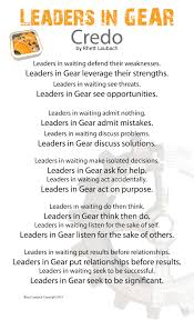 leaders in gear leaders in gear credo poster updated available