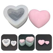 Love Heart Silicone Mold 3D Heart <b>Aroma Gypsum Plaster</b> Silicone ...