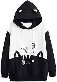 Womens <b>Japanese</b> Kawaii <b>Style</b> Kitty Cat Print Pocket <b>Long Sleeve</b> ...