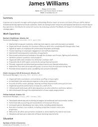 restaurant manager resume sample com