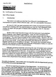 troy meade fired by everett police chief jim scharf the cover portion of meade s dismissal letter
