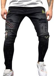 <b>Mens Autumn</b> Denim Cotton Straight Hole <b>Trousers</b> Distressed ...
