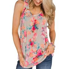 5XL Womens <b>Plus Size U Neck</b> Tank Top Floral Print Bohemian ...