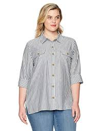 Chic Classic Collection <b>Women's Plus Size</b> Button Front 3/4 Sleeve ...