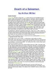 Death of a salesman analysis   Death of a Salesman by Arthur M iller