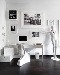 artistic white home office decor with darkwood flooring ideas image black and white office decor