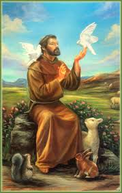 Traditional painting of Saint Francis with animals