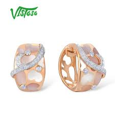 <b>VISTOSO Gold Earrings For</b> Women Pure 14K 585 Rose Gold Pink ...