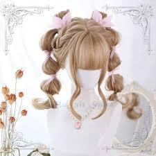 Linen Golden Blonde <b>Lolita Wig</b> Harajuku Fairy Curly Body Wave ...