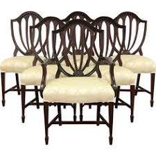 hepplewhite shield dining chairs set: set of  vintage hepplewhite mahogany shield back dining chairs new upholstery