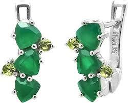 Серебряные серьги <b>Evora</b> 633806-<b>e</b> с зеленым агатом, перидотом