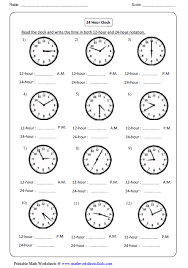 Clock Worksheets and ChartsReading 24-hour Clock