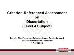 Criterion Referenced Assessment on Dissertation  Level   Subject     SlidePlayer