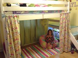white furniture cool bunk beds: bedroom white wooden loft bed having playing room under the bed with floral curtains plus