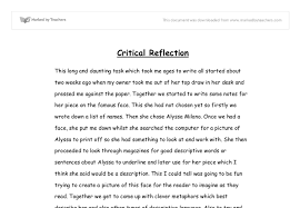 critical reflective essay  wwwgxartorg reflection english essay examples classtho savour the flavour of critical reflection of a pen university linguistics