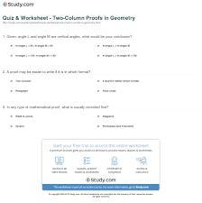 quiz worksheet two column proofs in geometry com print two column proof in geometry definition examples worksheet