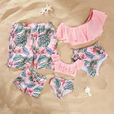 Family Matching Swimwear <b>Mother Daughter Bikini Swimsuits</b> Look ...