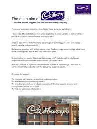 the main aims and objectives of cadbury