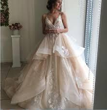 <b>2019 New Design Vintage</b> Wedding Dress Champagne Color Ball ...