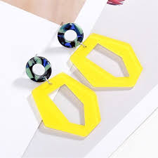 Acrylic Yellow Irregular <b>Hollow Out Earrings</b> - by Online Exclusive ...