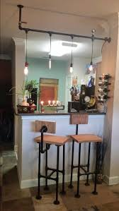 home bar lighting. diy pipe bar stools and light home lighting