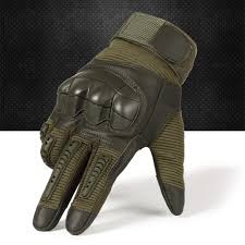 Touch Screen Hard Knuckle Tactical Gloves PU Leather <b>Army</b> ...
