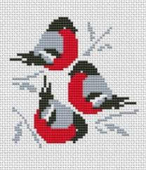<b>Trio</b> Red Cardinals cross <b>stitch</b> pattern