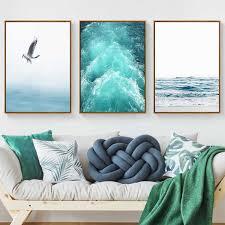 Canvas Painting Beach Ship <b>Sea</b> Wall Art Nordic Posters And Prints ...
