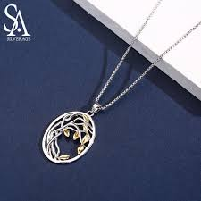 <b>SA SILVERAGE 925</b> Sterling <b>Silver</b> Tree of Life Pendant Necklaces ...