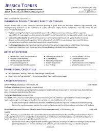 substitute teacher resume example teacher resume samples free