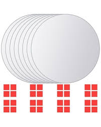 Amazing Deal on VidaXL <b>8 pcs Mirror Titles</b> Round Glass - Silver ...