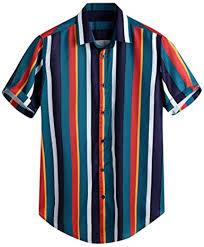 Men's T-Shirt Breathable Stripe Summer Short Sleeve ... - Amazon.com