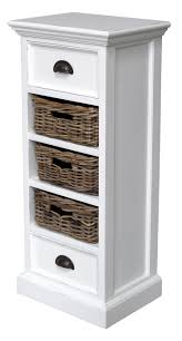 white storage unit wicker: brown rattan basket inside white wooden shelf of white wooden