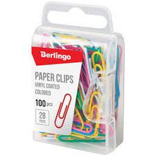 <b>Скрепки</b> 28мм, <b>Berlingo</b>, <b>100шт</b>., цветные, пласт. упак ...
