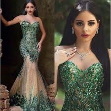 <b>Hot Sexy</b> Dark Emerald Green Mermaid Prom Gowns <b>Sweetheart</b> ...