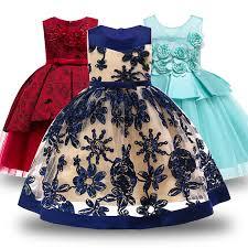 Girls Party <b>Princess Dress</b> Kids Sequins <b>Embroidered Formal</b> ...