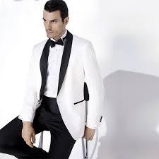 2019 <b>2018 White Groom Tuxedos</b> With Black Shawl Lapel Custom ...