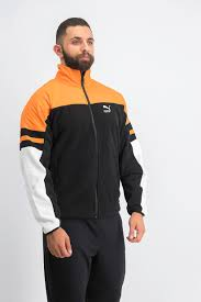 Puma <b>mens woven jacket</b> winterized orange black | Brands For Less