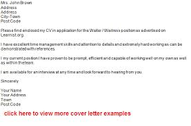 quote cover letter examples for waitress