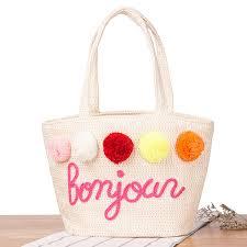 <b>2017</b> Handbags for Women <b>Summer</b> Straw Pom Ball Letter Design ...