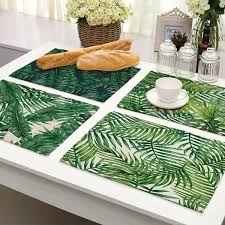 <b>1 Pcs</b> Cotton Linen <b>Placemat</b> Green Leaves <b>Table Mat</b> Kitchen ...
