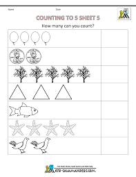 Preschool Counting Worksheets - Counting to 5Counting to 5 Sheet 5 · b/w version