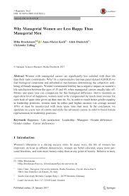 (PDF) Why Managerial <b>Women</b> are Less <b>Happy</b> Than Managerial <b>Men</b>