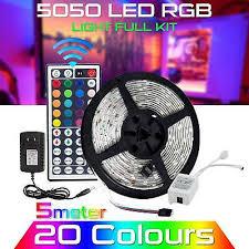 <b>5M Waterproof LED Strip</b> Light 12V US Power Full Kit SMD 44 Key ...