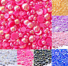 <b>500Pcs Mixed 2 10mm</b> Fuchsia AB Half Round Pearl Beads Craft ...
