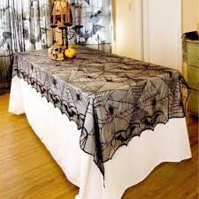 <b>Halloween</b> SpiderWeb Tablecloth Black <b>Lace Bat</b> Spider Party Table ...