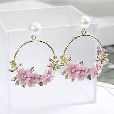 Ear <b>Personality</b> Flower Stud <b>Fashion</b> Jewelry Pearl Earrings Women ...