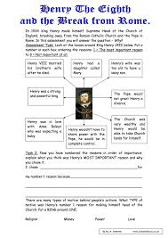 henry viii the power of the king worksheet year 8 study king henry viii 1509 1547 sen worksheet