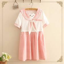 Summer <b>Cute Japanese</b> Cartoon Embroidery Bow Sailor Collar ...