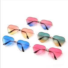 <b>Heart Shaped</b> Sunglasses Women Pink <b>Frame Metal</b> Reflective ...